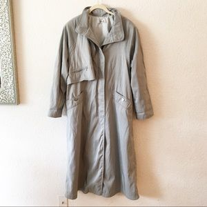 Vintage 80s Parka Trench Coat Silver Gray